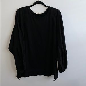 Black Basic Top with Puff Sleeves XL-1X-2X